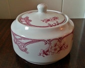 Vintage Shenango Burgundy Floral China Sugar Bowl with lid - Made in 1956