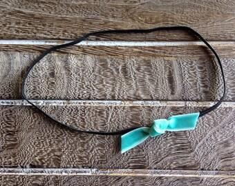 Black and Turquoise Headband - Turquoise Knotted Headband