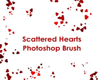 Commercial Use Instant Download Confetti Hearts Photoshop GIMP Brush - Add-on for Adobe Photoshop Brushes .ABR