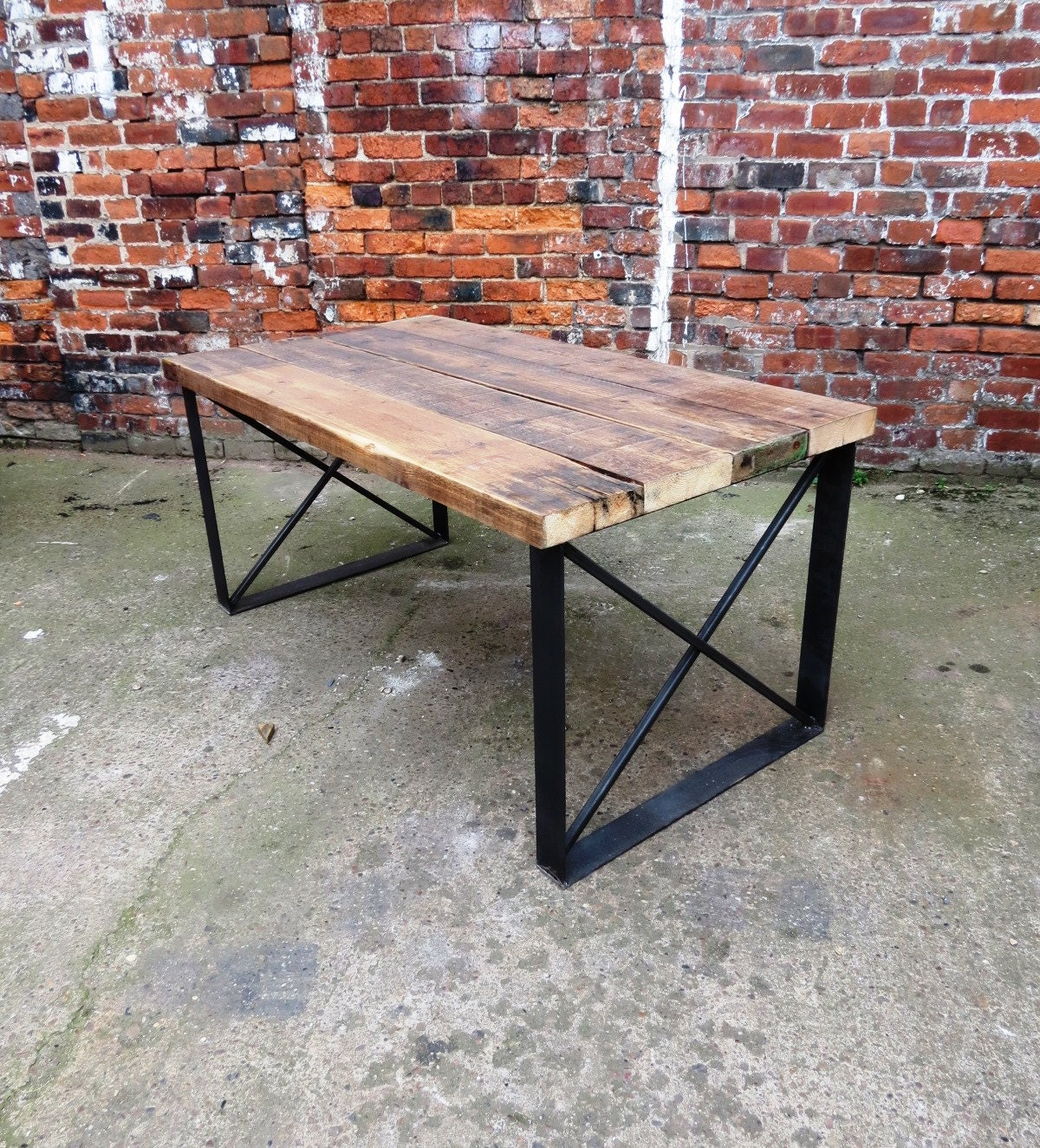 details beautiful handmade table made from reclaimed timber and heavyduty steel