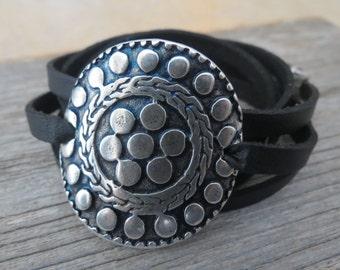 Black Leather Bracelet - Black Wrap Bracelet - Statement Bracelet - Geometric Bracelet - Leather Jewelry - Statement Jewelry