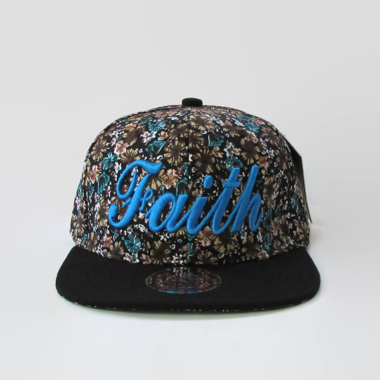 New blue floral print hat custom embroidered faith by maruhats