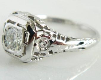 Vintage Art Deco 18K Gold Diamond Engagement Ring