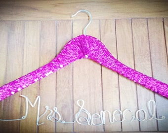 Hot Pink Personalized Bridal Wedding Dress Sequin Hanger