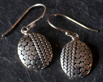 Sterling Silver Dot and Herringbone Drop Earrings