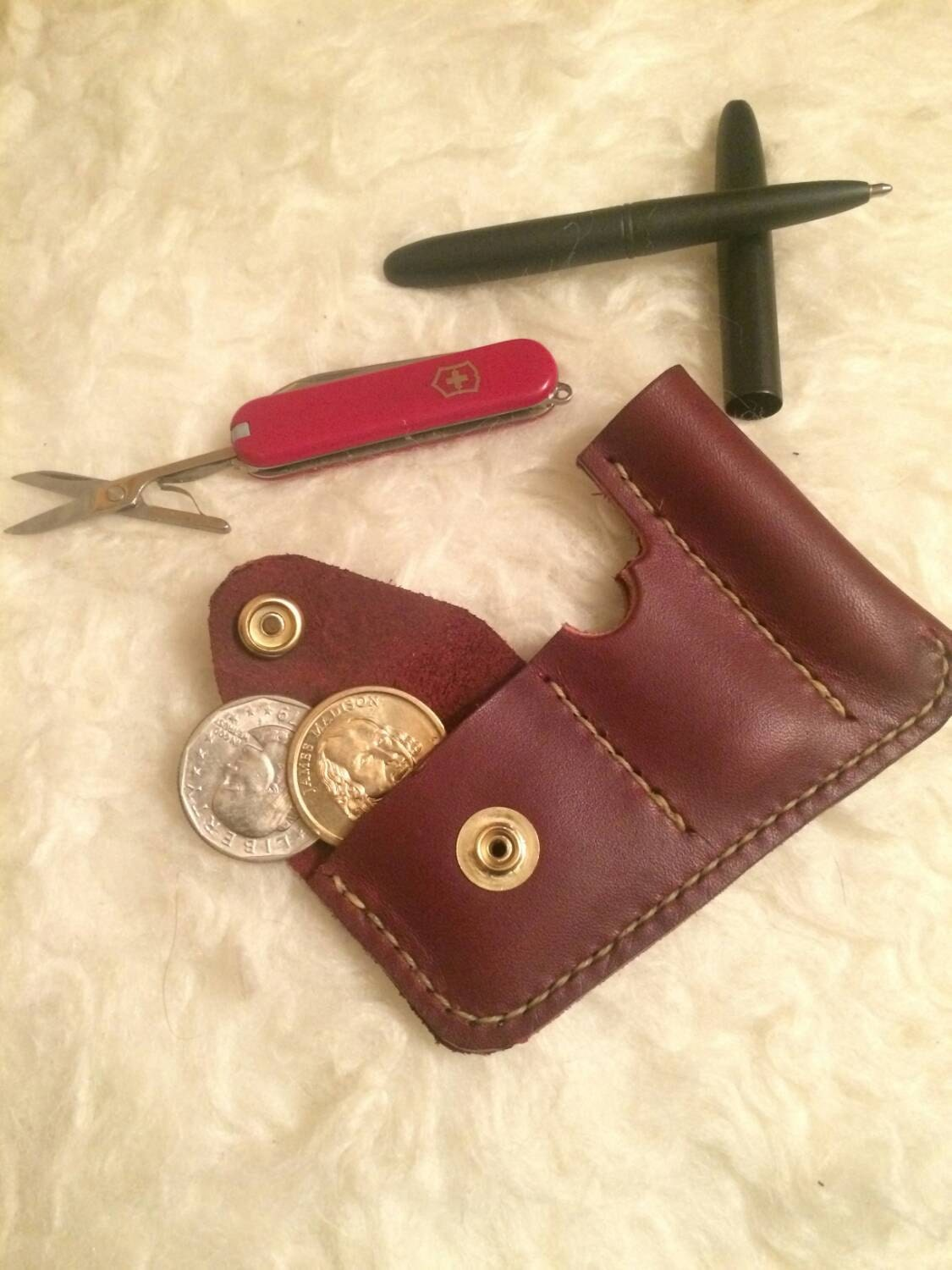 Leather Front Pocket Organizer Every Day Carry Edc