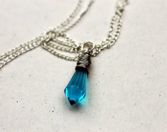 Silver Blue Swarovski Crystal Necklace