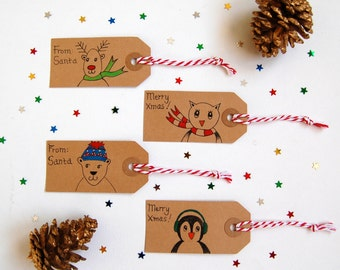 SALE 35% OFF 4 Christmas gift tags, Hand drawn Christmas tags, kids Christmas labels, Cute Holiday tags, Reindeer, Penguin, Polar Bear, Owl
