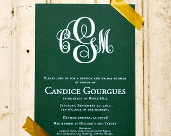Monogrammed Bridal Shower Invitations-FREE SHIPPING or DIY printable