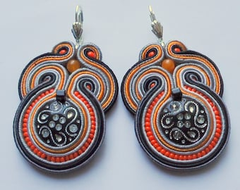 Soutache Earrings Orange - Grey
