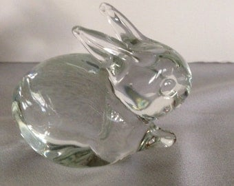 Vinci Art Glass Hand Blown Bunny Rabbit, Clear Glass, Paper Weight, Table Decor, Easter Decoration,Collectible,Animal Lover, 4-H, Family Pet