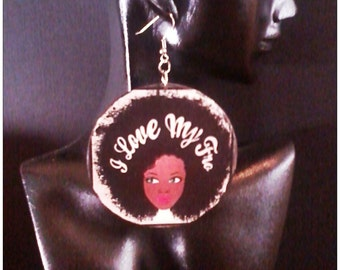 Love My Fro Statement Decoupage Earrings MADE TO ORDER