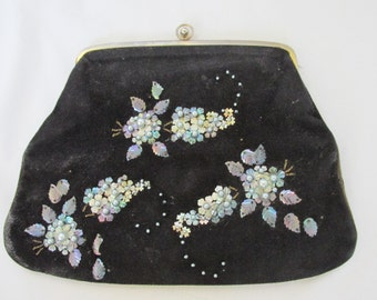 vintage suede evening purse