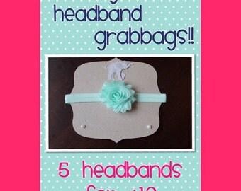 Baby Headband Grab Bag - 5 Shabby Flowers