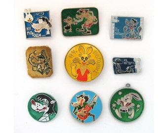 Nu pogodi, Children's badges, Set, Cartoon, Character, Vintage collectible badge, Soviet Vintage Pin, Soviet Union, Made in USSR