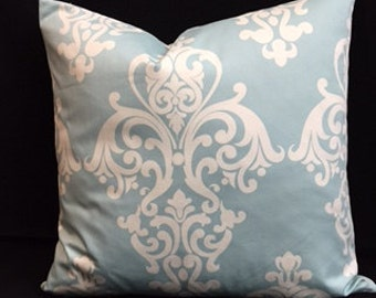 "SEAFOAM with Damask motif ""COVER"" only.  18'X18'.  Pair up with Seafoam square in square"