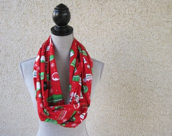 Fabric scarf, Infinity scarf, tube scarf, eternity scarf,  Holiday scarf, Christmas scarf, Christmas, retro Christmas, Organic cotton
