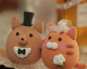 sheltie and kitty ,cat wedding cake topper