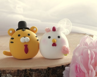 Tiger and Chicken wedding cake topper---Chiness Zodiac wedding cake topper