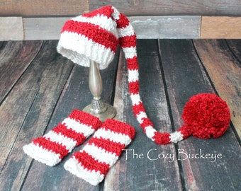 Elf Hat Christmas Red and White Baby Photography Prop