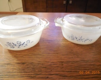 VINTAGE 1960s Fire King Mini Casserole Dishes with Lids Good Overall Floral Blue Pattern