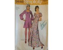 Vintage 70s Simplicity 9446 Dress Pattern Size 12 Bust 34
