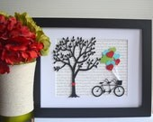 Song Lyrics Art - Tandem Bicycle Art - Wedding Gift - Anniversary Gift - Bicycle Wedding - Tandem Bike - Valentine's Day Gift
