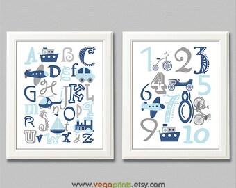 Blue and grey Alphabet and numbers nursery art print -UNFRAMED- navy, transportation, plane, nursery wall art, kids room decor, 123, abc