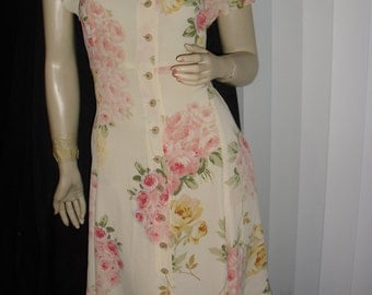 70s Betsey Johnson bodyfit pastel floral dress