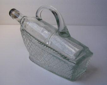 Vintage marvelous handled clear glass wine decanter bottle