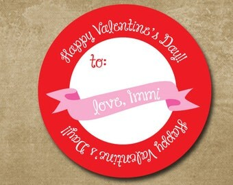 Personalized Valentine Day Gift Stickers, Heart Banner, Treat Bag Gift Labels, Kids Valentine Day Cards