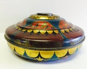 Vintage PASSAIC METALWARE TIN 1901- 1928 Candy Tin Round Toy Top