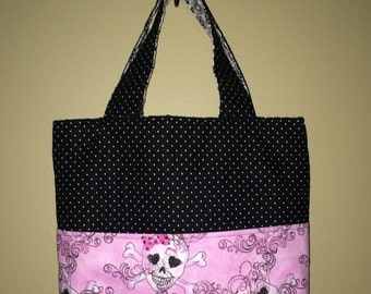 Medium Tote, Black and Pink with Skulls Fabric