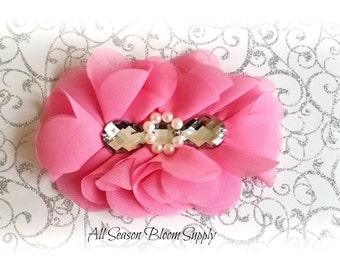 "Pink Flowers - Beaded Chrystal Chiffon Flower - Fabric Flower - Pearl Chrystal Flowers - Rosettes - Headband - Supplies - DIY- 5"""