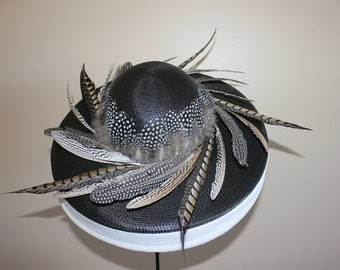Kentucky Derby Hat, Del Mar, Santa Anita, Saratoga, Preakness - black and white hat - Feathered Fancy