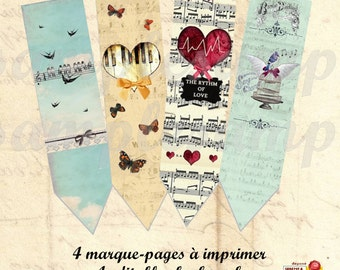 Printable Bookmarks Book Lover Bookmarks hot air balloon vintage digital bookmarks Journal Tag Book Mark french paper printable paper