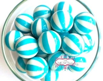 20mm Turquoise Watermelon Beach Balls Chunky Bubble Gum Beads Set of 10
