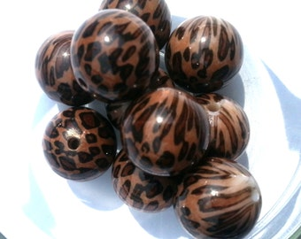 20mm Cheetah Brown Leopard Chunky Bubble Gum Beads Set of 10