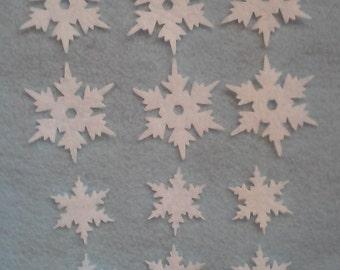 Die cut felt snowflakes set of 12