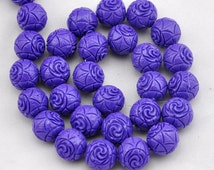 purple Carved Coral  Beads,32 Pcs coral beads,One Full Strand,coral Beads,Gemstone Beads-12mm-15.5inches----S0205