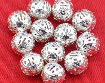 10mm-100pcs Silver plated Ornate Filigree Spacer Beads Charm Pendants Jewelry Findings ---G365