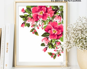 Nursery wall art Printable flower Decor floral illustration nursery decoration nursery flower print garden flower instant download ID119-119