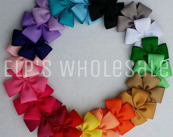 Unfinished 5 Petal ribbon flower- You Pick Your Colors - wholesale - Pinwheel- Grosgrain Flowers - Hair clips