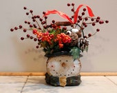 Stone Log Snowman PamsDeZines Snowman Floral Arrangement Snowman In Stone Log Christmas Arrangement Snowman Winter Arrangement  (Item 178)