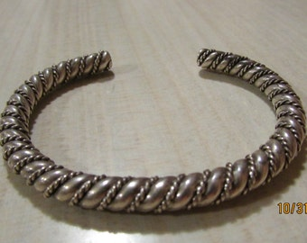 Heavy Sterling Silver Twisted Wire Cuff Bracelet