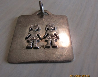 Perfect Sterling Silver Pendant for Mom or Grandma of Two Little Girls