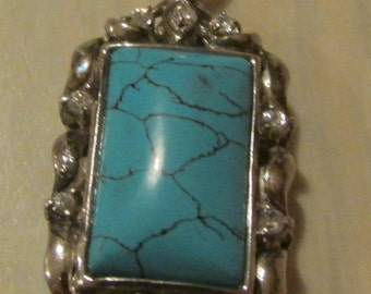 Pretty Faux Turquoise CZ and Sterling Silver Pendant