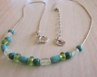 Sterling Liquid Silver and Bead Necklace