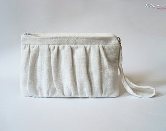 Organic cotton clutch / Bridesmaid Clutch / Makeup Bag / Cosmetic Case / Wedding Gift / Zippered Clutch / Hand woven cotton fabric clutch