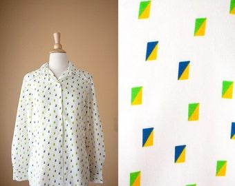 Geometric Print Secretary Blouse, 70s Blouse, 70s Top, Button Down Shirt, Abstract Print Top, 80s Blouse, Novelty Print Blouse, Retro Blouse